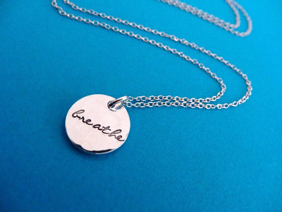 Breathe Hand Stamped Necklace, alternate angle