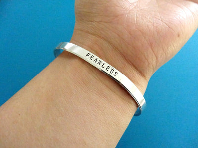 I Love You Bracelet | Hand Stamped Cuff, On Wrist
