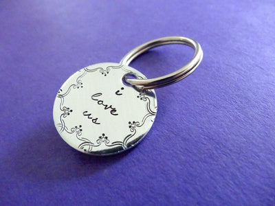 I Love Us Keychain | Hand Stamped Keychain, Side View