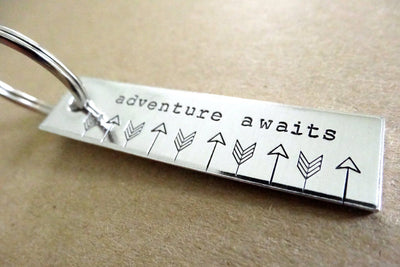 Adventure Awaits Keychain | Travel Keychain, Close up