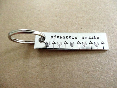 Adventure Awaits Keychain | Travel Keychain, zoomed out
