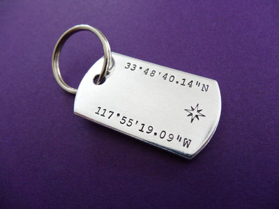 Latitude Longitude Keychain, view from above