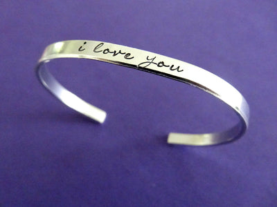 I Love You Bracelet | Hand Stamped Cuff, Side View