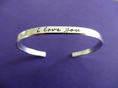I Love You Bracelet | Hand Stamped Cuff