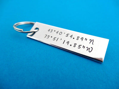 Coordinates Keychain, close up