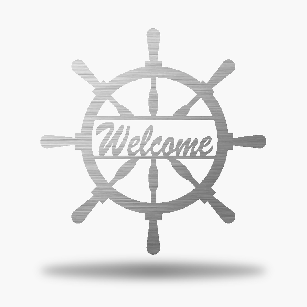 Captain Wheel Welcome Sign