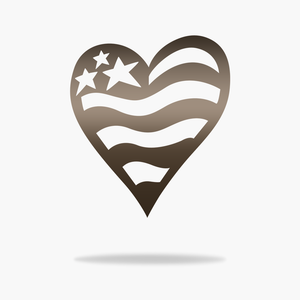 USA Heart Flag Sign