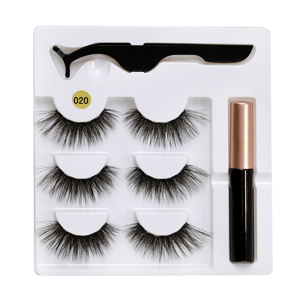 Glossmetics 3-Pairs Magnetic Eyelash Kit with Applicator & Magnetic Eyeliner