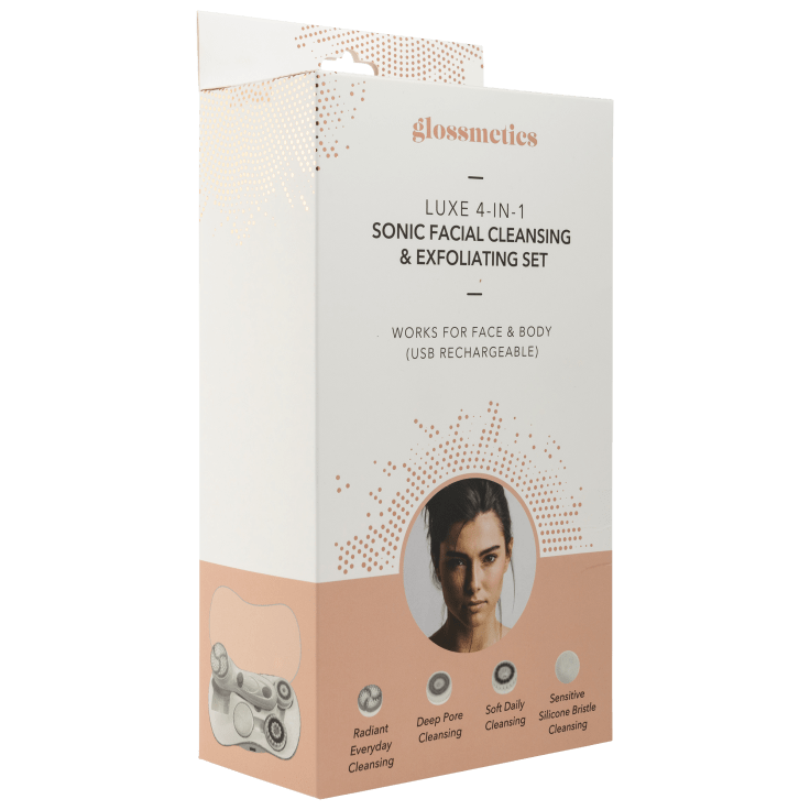 Glossmetics Luxe 4-in-1 Sonic Facial Cleansing & Exfoliating Set