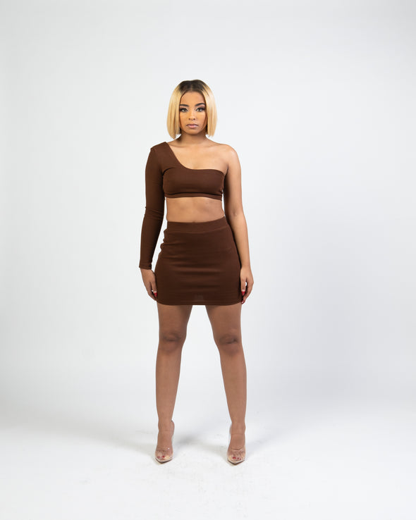 Brielle Skirt Set | Chocolate Brown