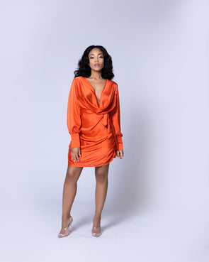 Dawn Satin Dress | Orange