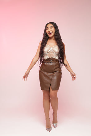 Bailey Faux Leather Skirt | Brown