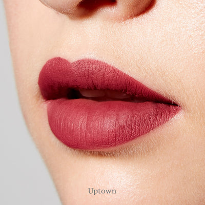 "Clove + Hallow Lip Velvet - Clean, vegan and cruelty-free long wear matte liquid lipsticks in vibrant, flattering, wearable shades. ""Uptown"" is a deep neutral with brick red undertones."