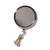 Arpin Hand Bag Mirror. Regular and 7 x magnifying purse sized mirror with silver grey tassel. Exceptional mirror quality. Made in France. Comes with pink leather case.