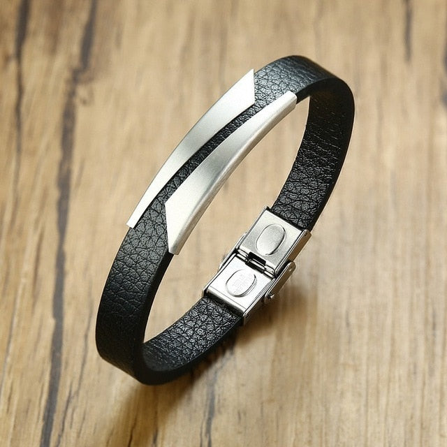 Men's Black Leather Bracelet - Salsarise.com