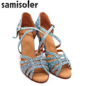 Blue Rhinestone Dance Shoes - Salsarise.com
