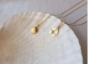 Divine Creatures Gold Compass Necklace