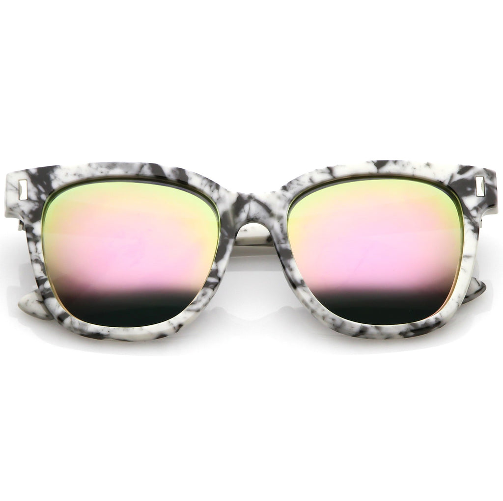 2f3c022f647 Marble Printed Horn Rimmed Sunglasses Thick High Sitting Arms Square Lens  54mm (Marble   Pink