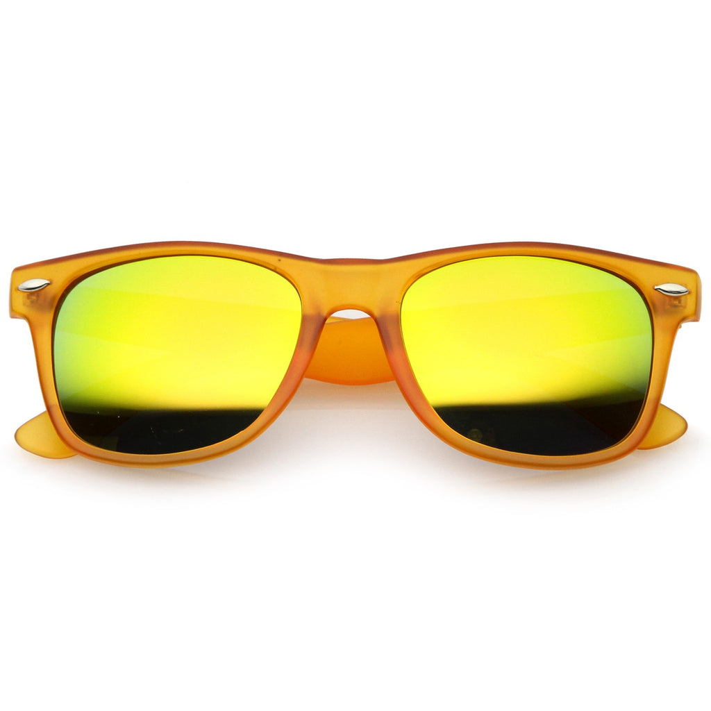 816f019530 Retro Frost Matte Square Colored Mirror Lens Horn Rimmed Sunglasses 55mm  (Frost Orange   Yellow