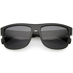 10c964b14b Retro Square Horn Rimmed Sunglasses Neutral And Colored Mirror Lens 55mm  (Matte Black   Smoke