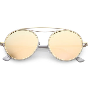 a95179d35dc Polarized Round Aviator Sunglasses Metal Brow Bar Mirrored Lens 52mm (Pink    Pink Mirror)