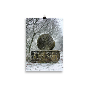 Peak District boundary stone in the snow - poster