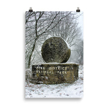 Load image into Gallery viewer, Peak District boundary stone in the snow - poster