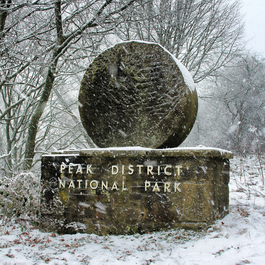Peak District boundary stone in the snow - digital download