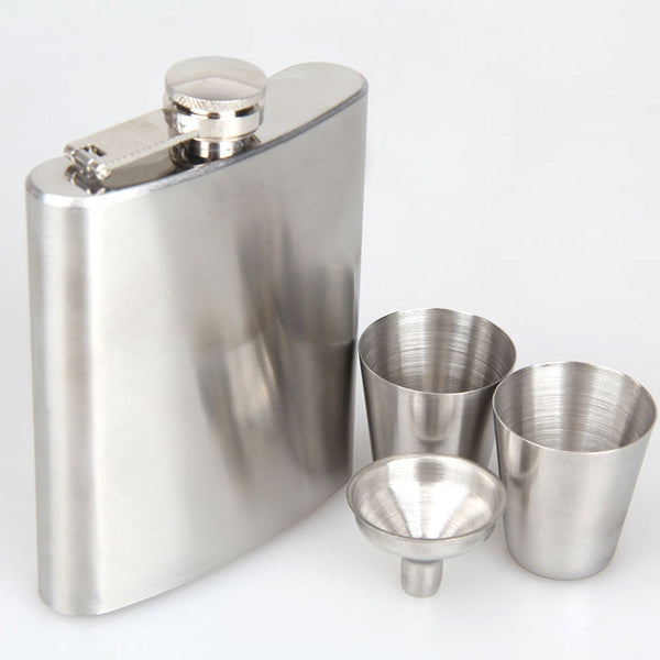 Portable 7oz Stainless Steel Hip Flask w/ Funnel Cap and Shot glasses
