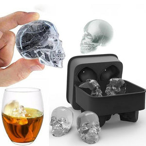 Skull or Grenade Silicone Mold 4-Cavity DIY Ice Cube Maker