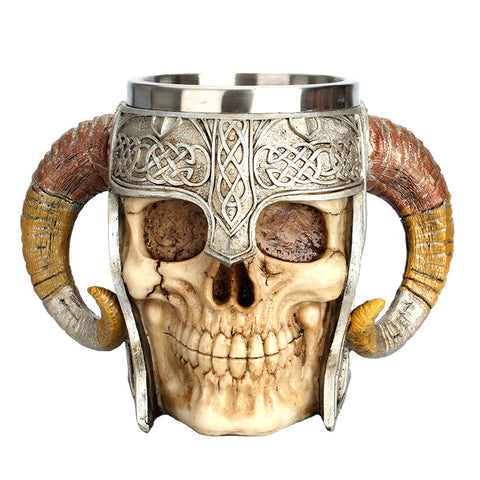 Medieval Mug Stainless Steel Double Handle Horn Skull Beer Mug, Viking Warrior Skull Mug Tankard for Beer