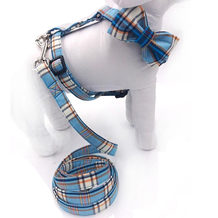 Blue Plaid - Bow Harness & Leash Set