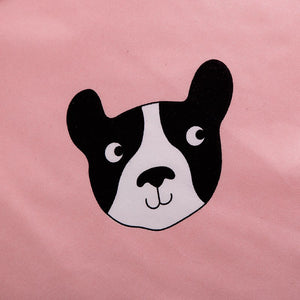 Frenchie Face Pink Duvet Set