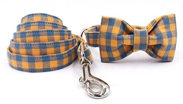 """The Stanley"" Bow Tie Collar & Leash Set"
