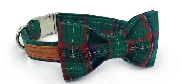 """The Evergreen""  Bow Tie Collar & Leash Set"