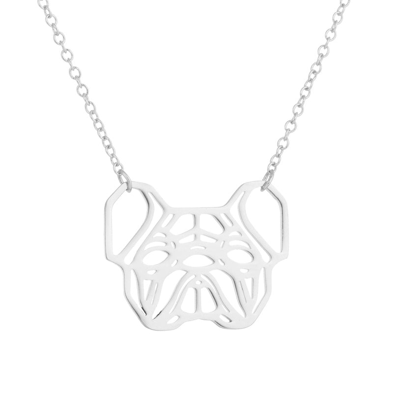 Origami Frenchie Face Necklace