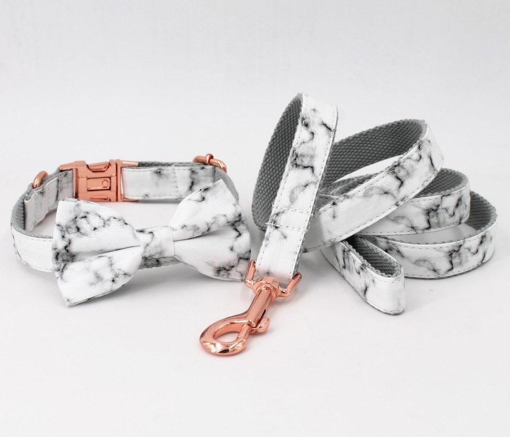 Marble & Rose Gold - Bow Tie Collar & Leash Set