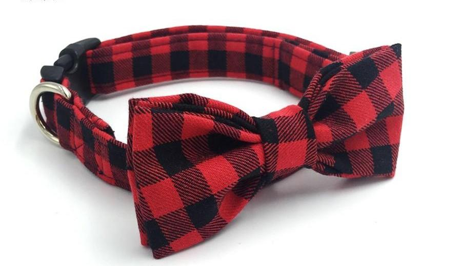 Red Plaid Bow Tie Collar
