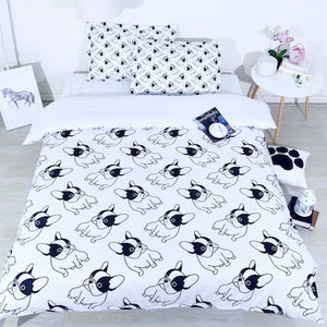 3 pcs per set Cartoon Black and White  French bulldog 3d bedding set