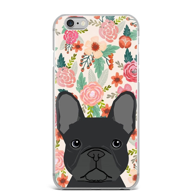 Black Frenchie Floral Iphone Case