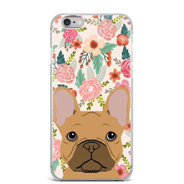 Brown Frenchie Floral IPhone Case