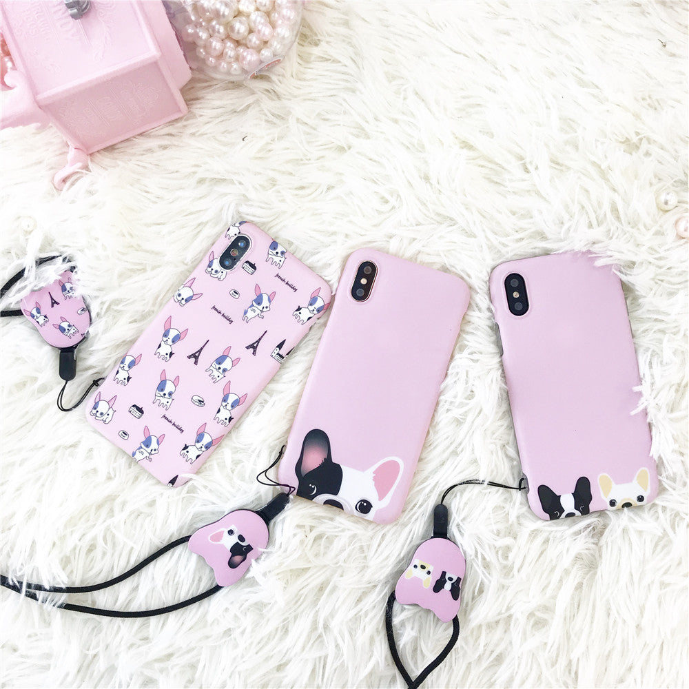 Pink Frenchie Case w/ Lanyard