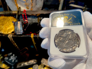 "Reproduction Peru 1708 8 Escudos ""Fleet Shipwreck"" 22kt Plated Pirate Gold Coins Jewelry Treasure"