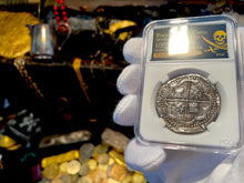 "Load image into Gallery viewer, Peru 1 Real 1707 ""TRIPLE DATED"" Pendant Necklace Pirate Gold Coins Jewelry Treasure"