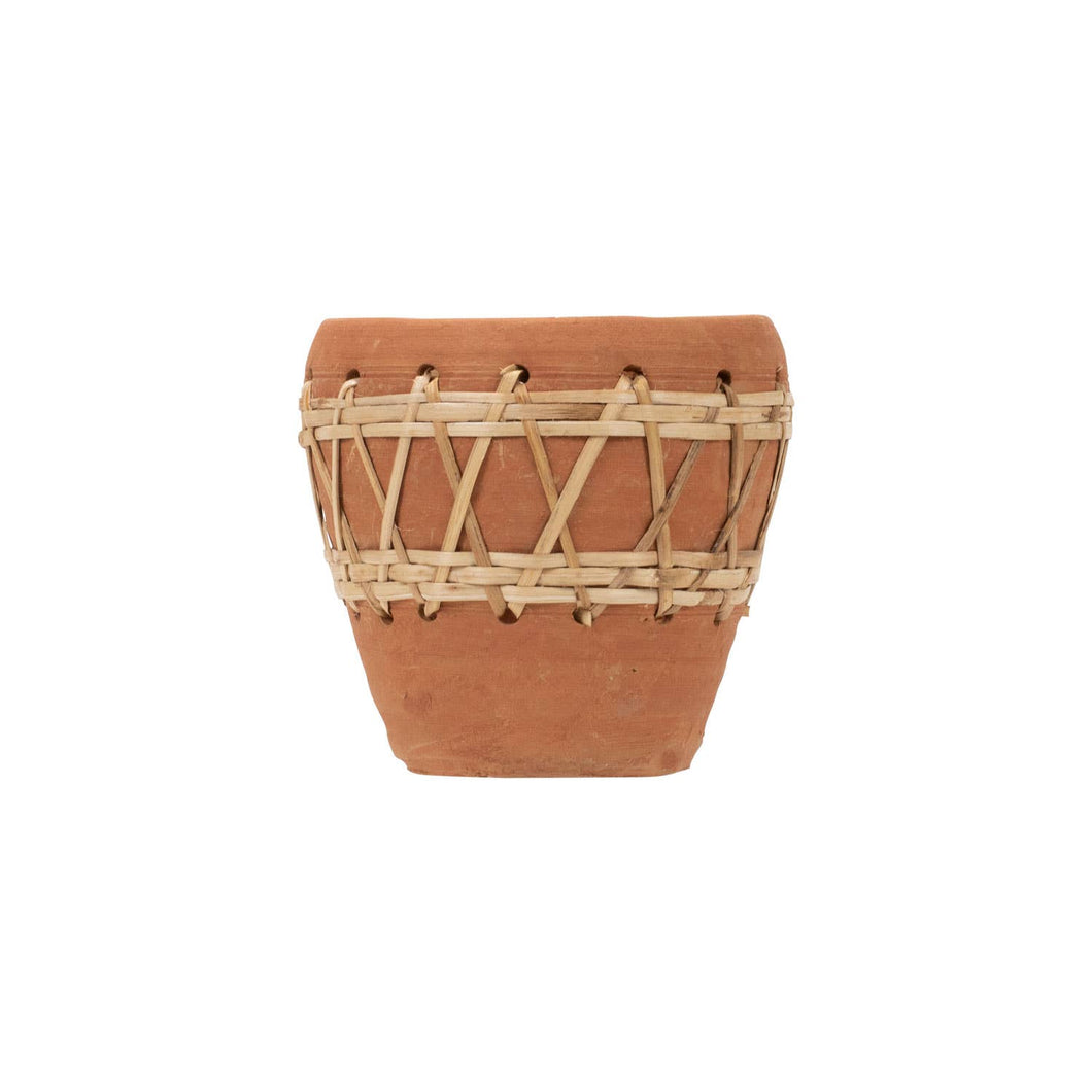 Foreside Home & Garden - Woven Diamond Terracotta Pot
