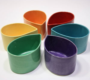 From Donna's Hands - Colorful Ceramic Teardrop Bowls