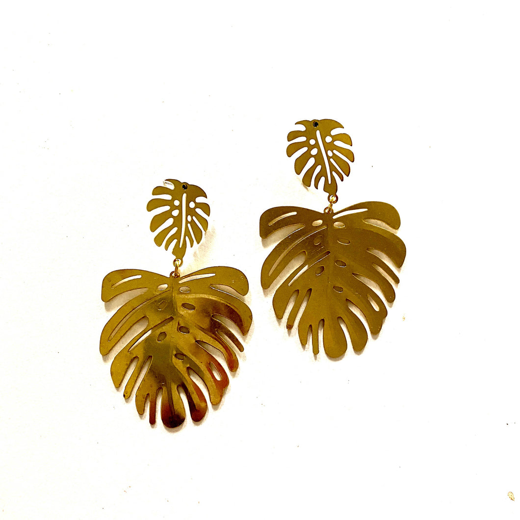 Boho Gal Jewelry - Kiera Monstera Earrings