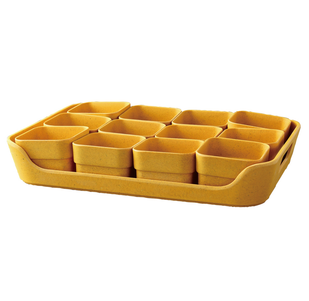 Simple Eco-Planter Herb Pot with Tray Set of 12: Yellow