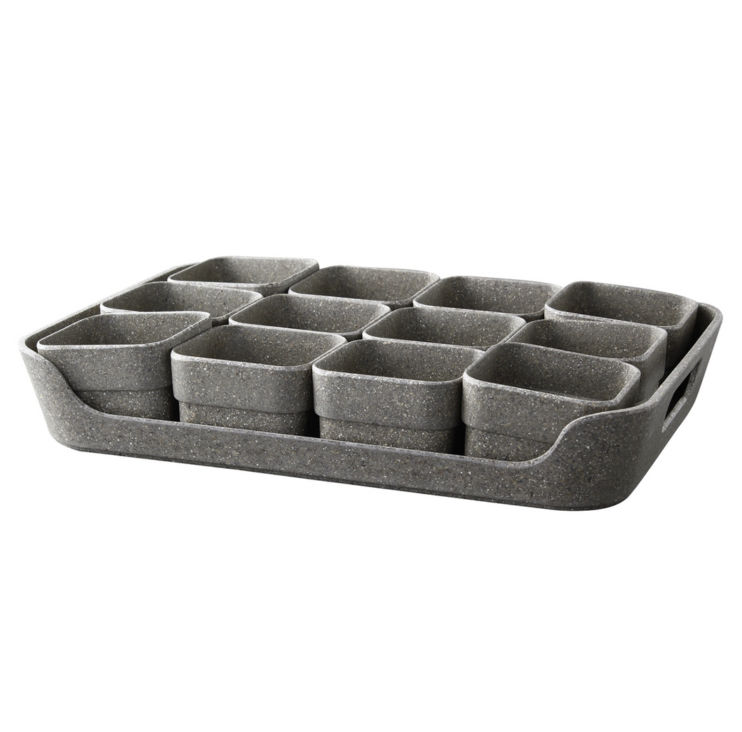 Simple Eco-Planter Herb Pot with Tray Set of 12: Black