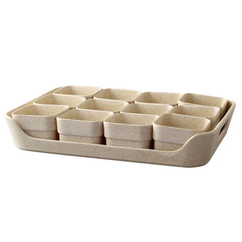 Simple Eco-Planter Herb Pot with Tray Set of 12: Sand Beige